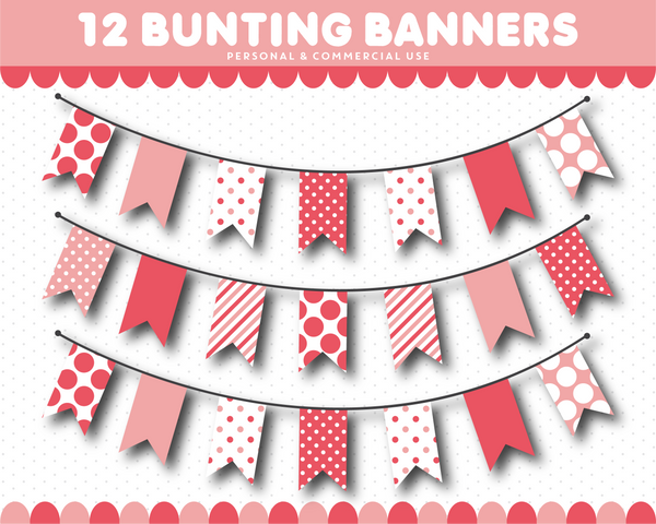 Blush pink bunting banner flag cliparts with stripes and polka dots, CL-1537