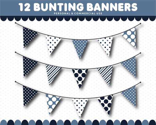 Dark blue bunting flag cliparts with stripes and polka dots, CL-1539