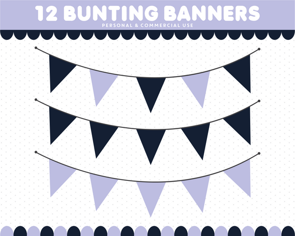 Purple and navy blue bunting flag cliparts with stripes and polka dots, CL-1540