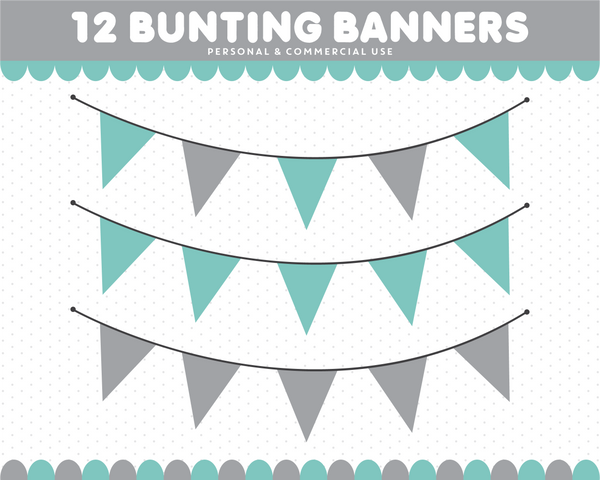 Mint green and grey polka dot and stripes bunting banner clipart, CL-1542