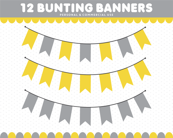 Yellow and grey bunting clipart, CL-1544