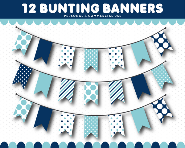 Baby blue flag clipart with polka dots and stripes, CL-1547