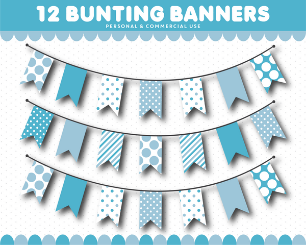 Clipart bunting with triangles and squares, CL-1548