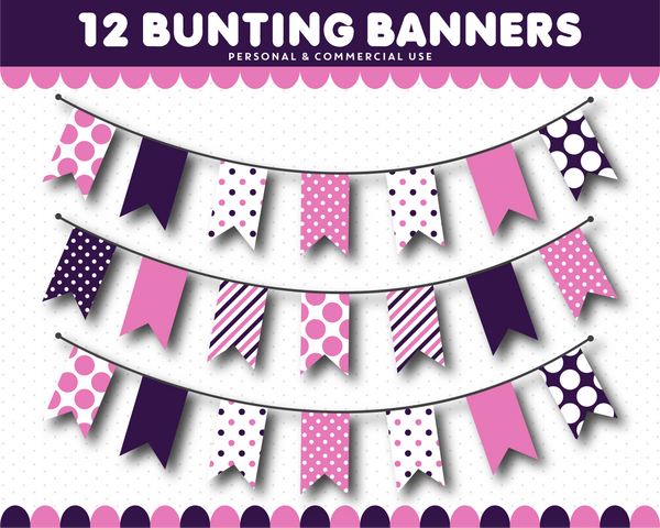 Plum purple bunting clipart with stripes and dots, CL-1552