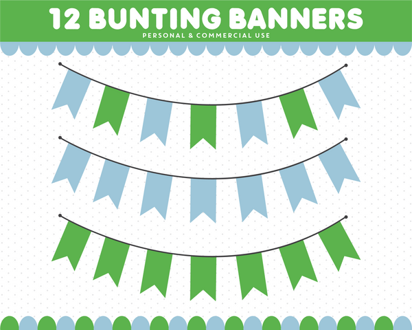Green and blue bunting clipart with stripes and dots, CL-1553
