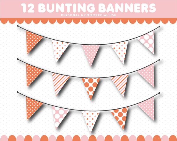 Pink and orange bunting clipart with dots, CL-1556