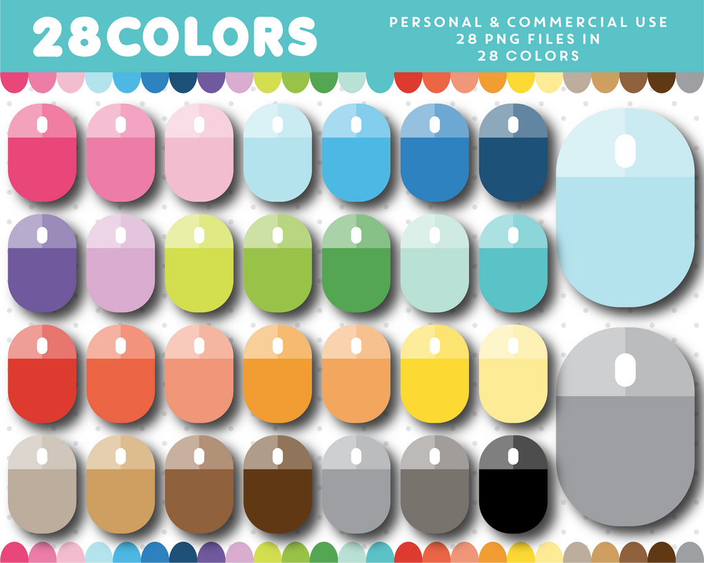 Computer mouse clipart in 28 colors, CL-1569