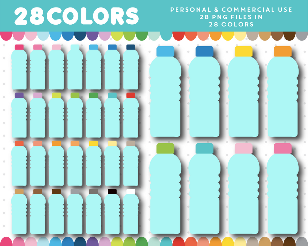 Water bottle clipart in 28 colors, CL-1585
