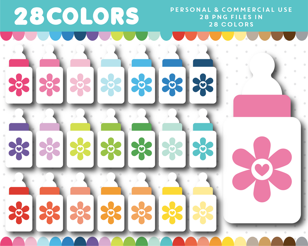 Floral baby bottle clipart in 28 colors, CL-1590