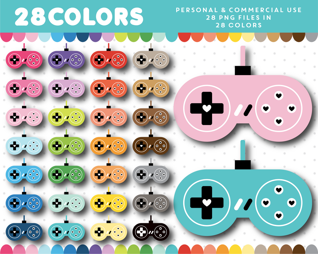 Retro gaming clipart in 28 colors, CL-1593