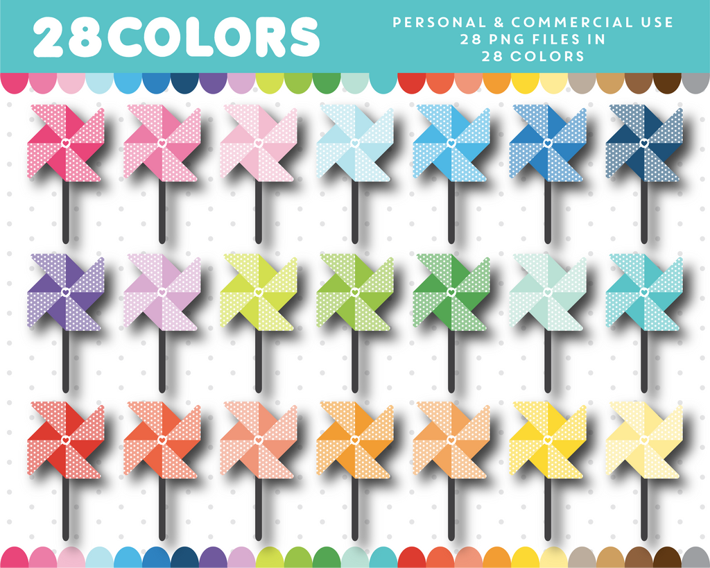 Polka dot pinwheel clipart in 28 colors, CL-1595