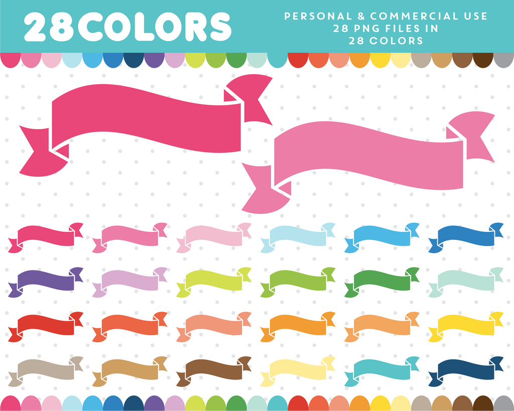 Wavy ribbon clipart in 28 colors, CL-16