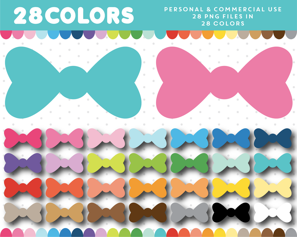 Bow clipart in 28 colors, CL-1603