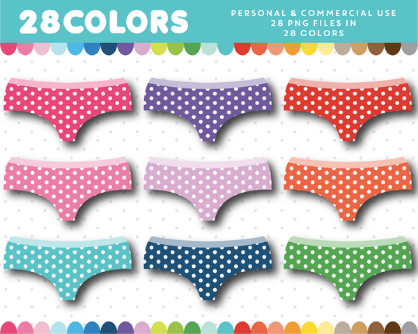 Polka dot underwear clipart in 28 colors, CL-1606