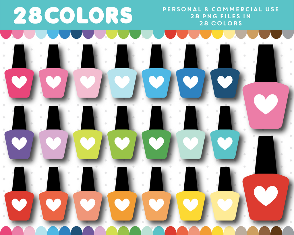 Nail polish with heart clipart in 28 colors, CL-1607
