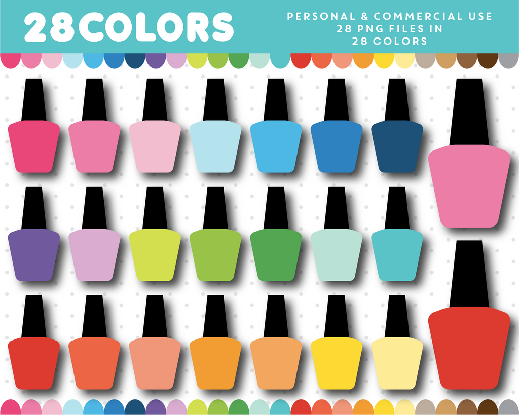 Nail polish bottle clipart in 28 colors, CL-1608