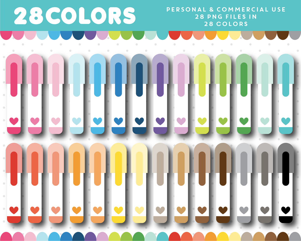 Pen with heart clipart in 28 colors, CL-1614