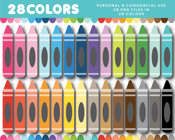 Crayon clipart in 28 colors, CL-1620