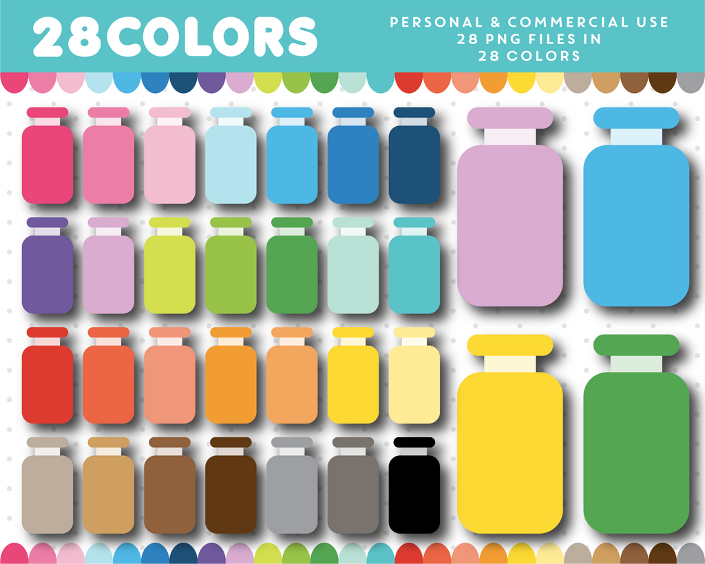 Skin care bottle clipart in 28 colors, CL-1622