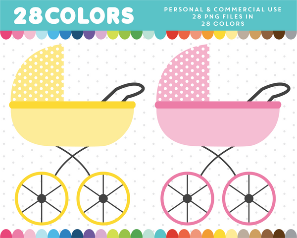 Stroller clipart in 28 colors, CL-1624