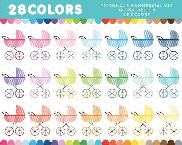 Baby stroller with polka dots clipart in 28 colors, CL-1625