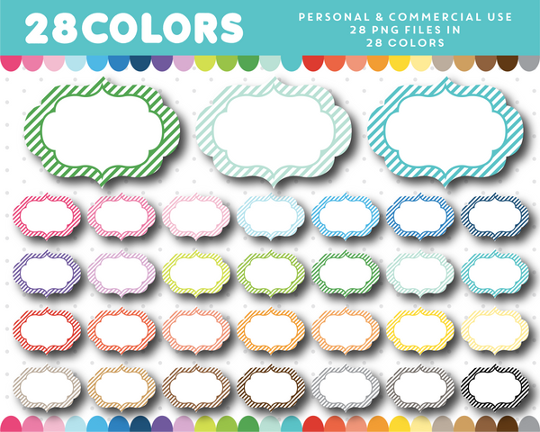 Striped frame clipart in 28 colors, CL-1627