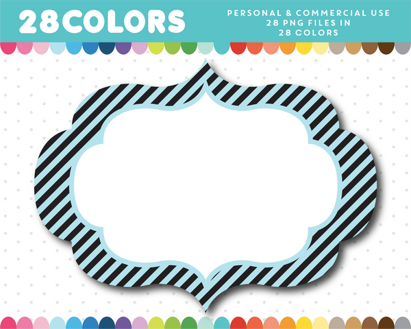 Black stripes frame clipart in 28 colors, CL-1630