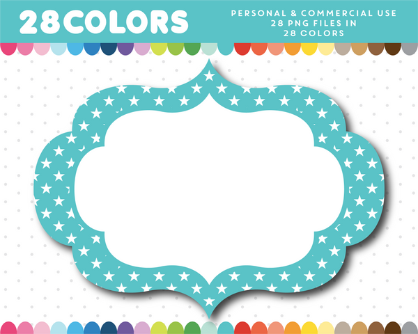 Scrapbooking digital frame with small stars in 28 colors, CL-1632