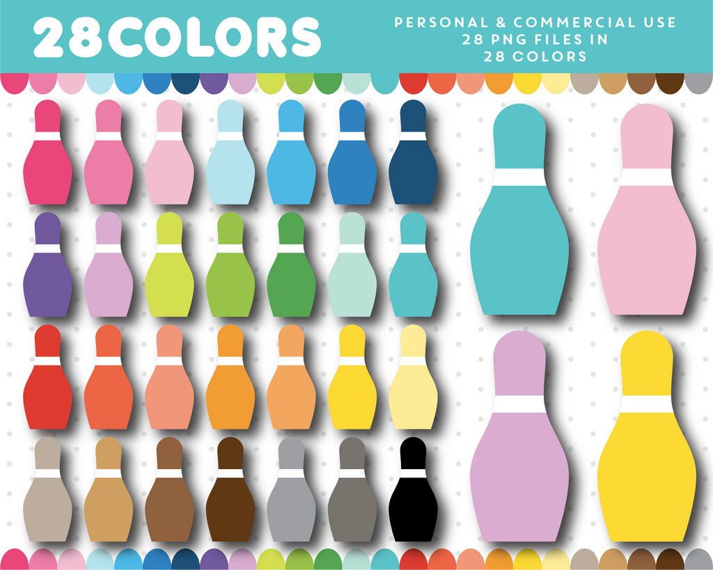 Bowling cone clipart in 28 colors, CL-1636
