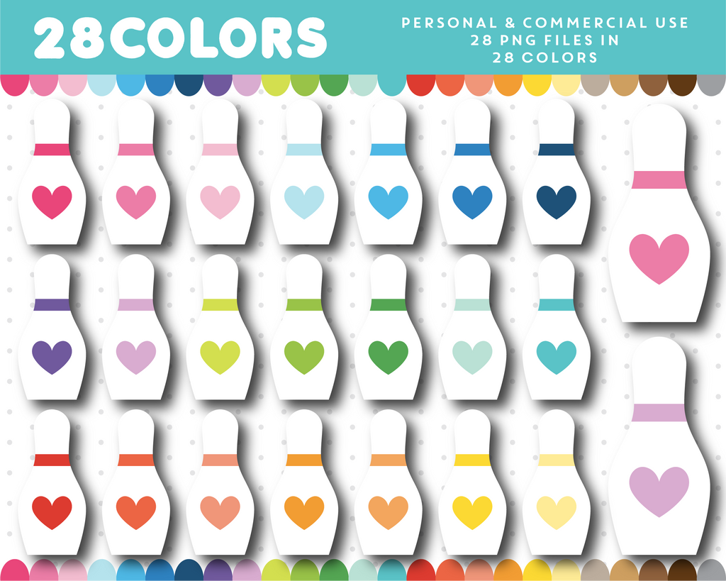 Bowling pin clipart in 28 colors, CL-1637