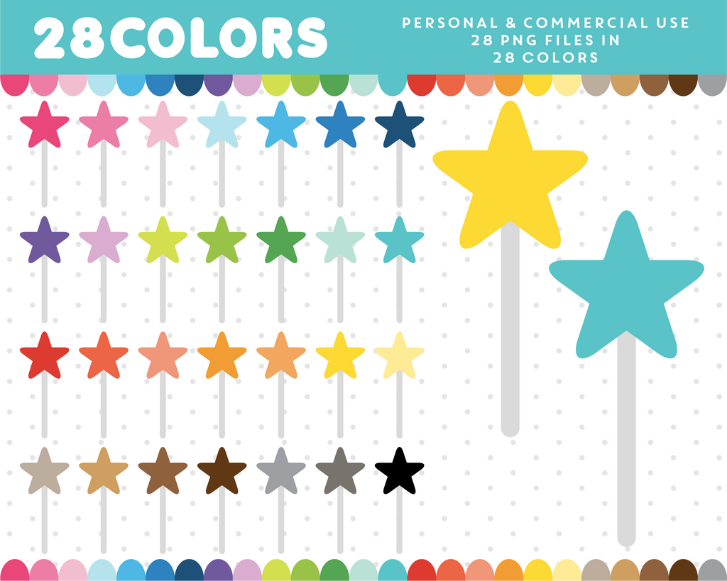 Star wand clipart in 28 colors, CL-1639