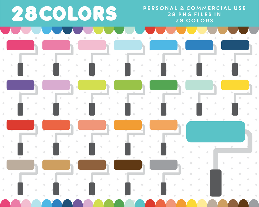 Paint roller clipart in 28 colors, CL-1641
