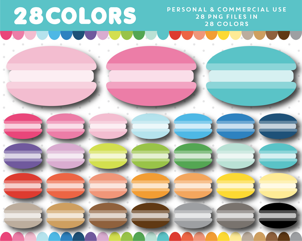 Macaroons clipart in 28 colors, CL-1643