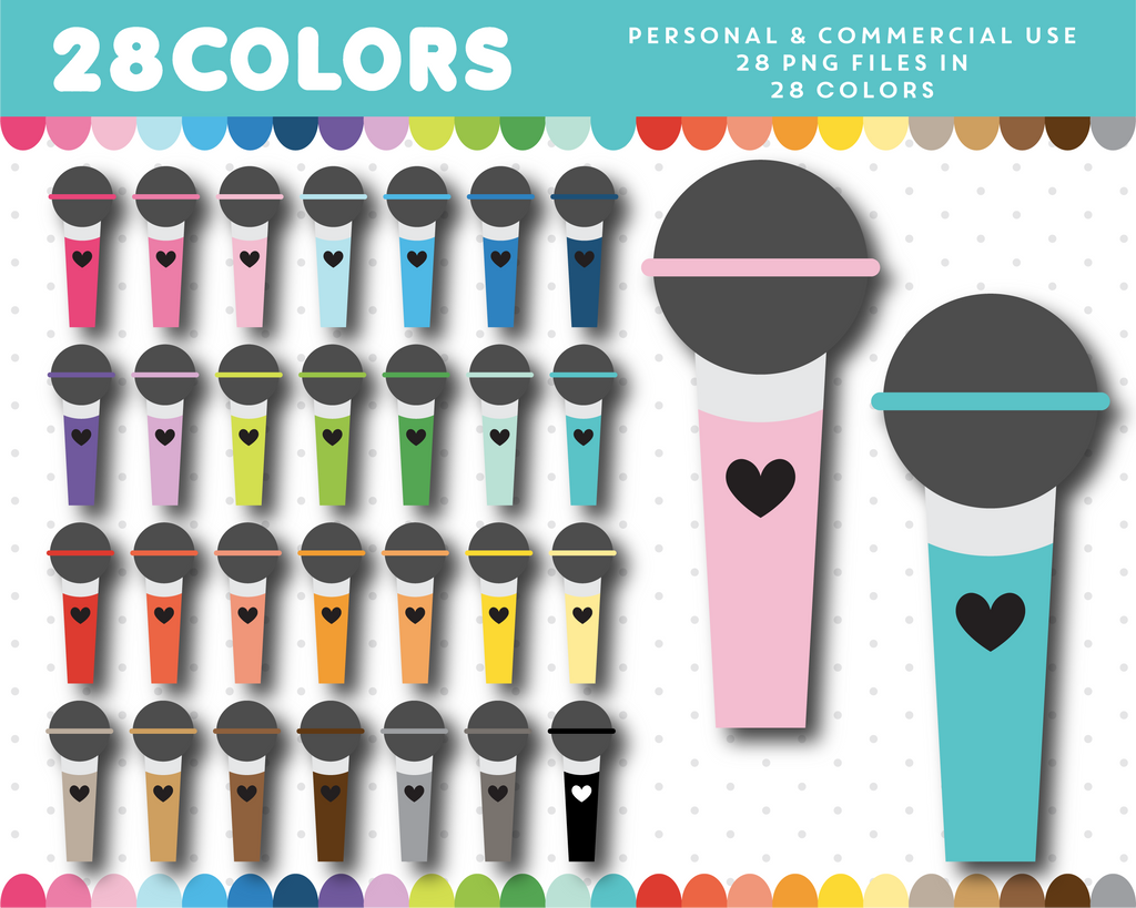 Microphone clipart in 28 colors, CL-1646