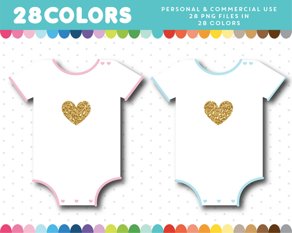 Baby onesie with gold heart clipart in 28 colors, Gold glitter clipart, CL-1655