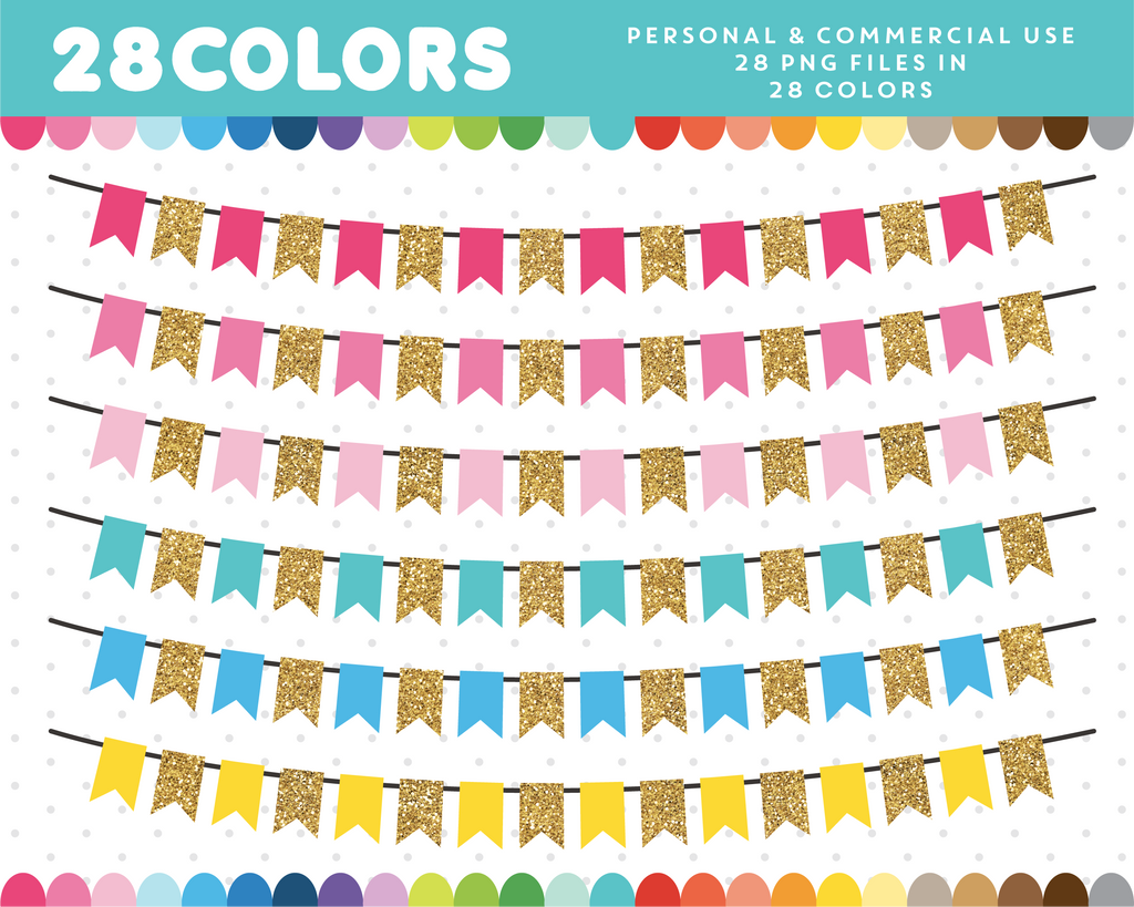 Glitter banner clipart in 28 colors, Gold glitter clipart, CL-1661