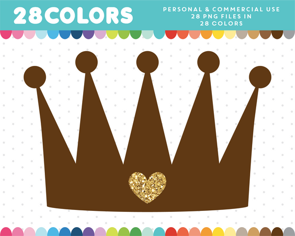 Princess crown with glitter heart clipart in 28 colors, Gold glitter clipart, CL-1667