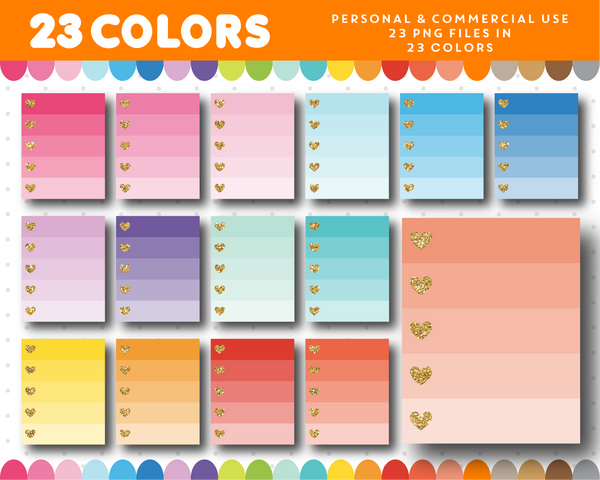 Full box clipart with gold hearts in 23 colors, Gold glitter clipart, CL-1670