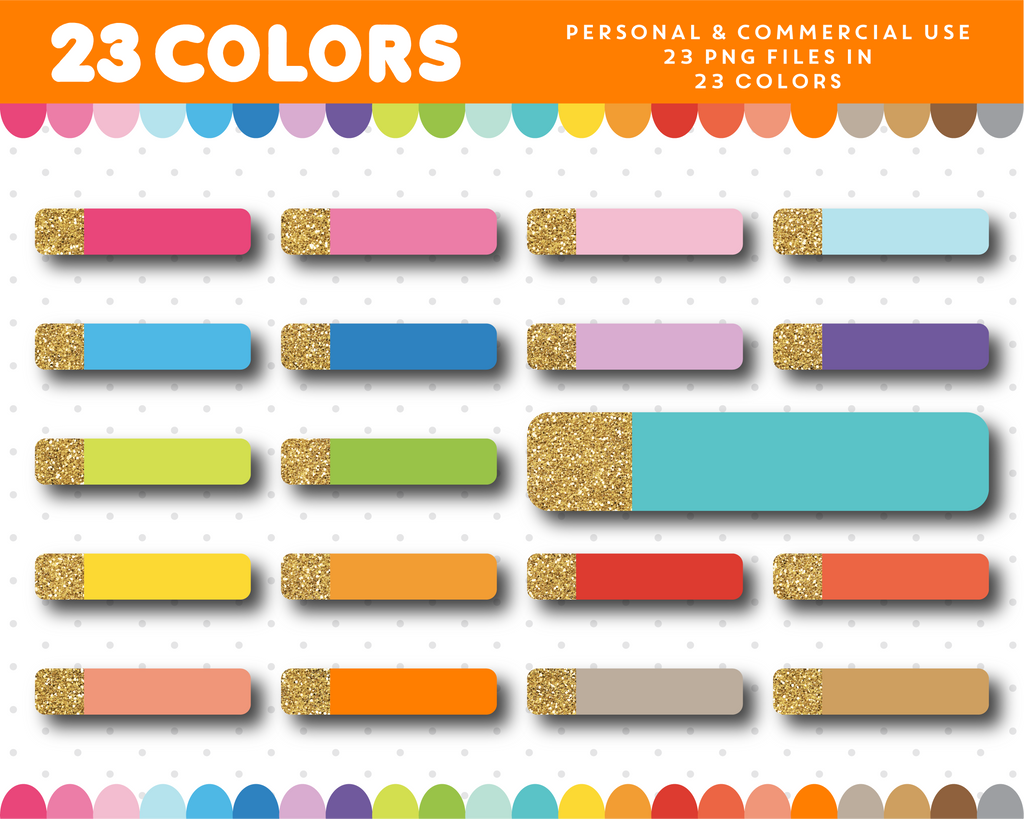 Glitter header clipart in 23 colors for planners, Gold glitter clipart, CL-1673