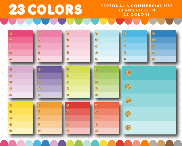 Full ombre box with glitter check marks clipart in 23 colors, Gold glitter clipart, CL-1681