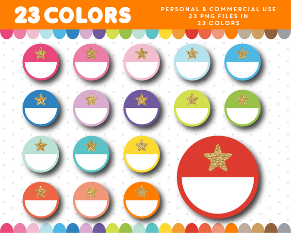 Half circle with glitter star clipart in 23 colors, Gold glitter clipart, CL-1685