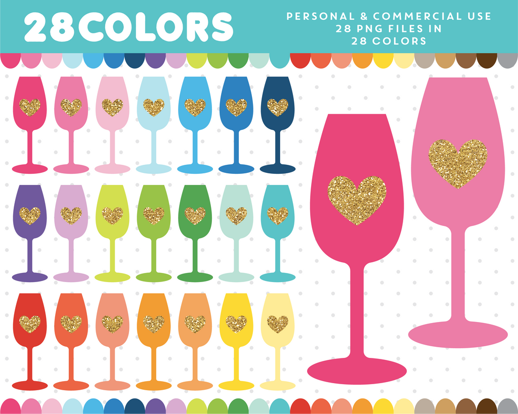 Champagne glass with gold heart clipart in 28 colors, Gold glitter clipart, CL-1691