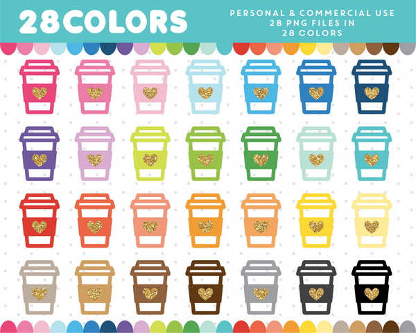 Coffee cup with glitter heart clipart in 28 colors, Gold glitter clipart, CL-1699