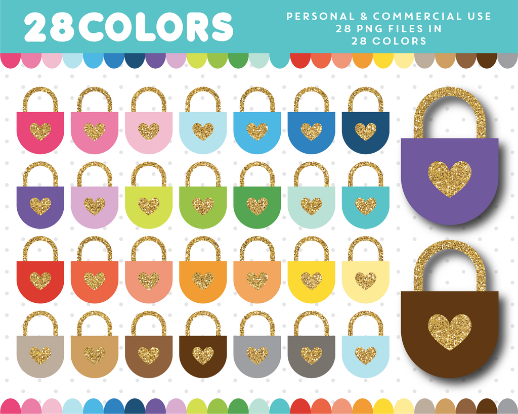 Love padlock with glitter heart clipart in 28 colors, Gold glitter clipart, CL-1707