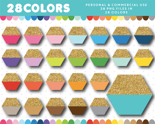 Hexagon with half gold glitter clipart in 28 colors, Gold glitter clipart, CL-1708