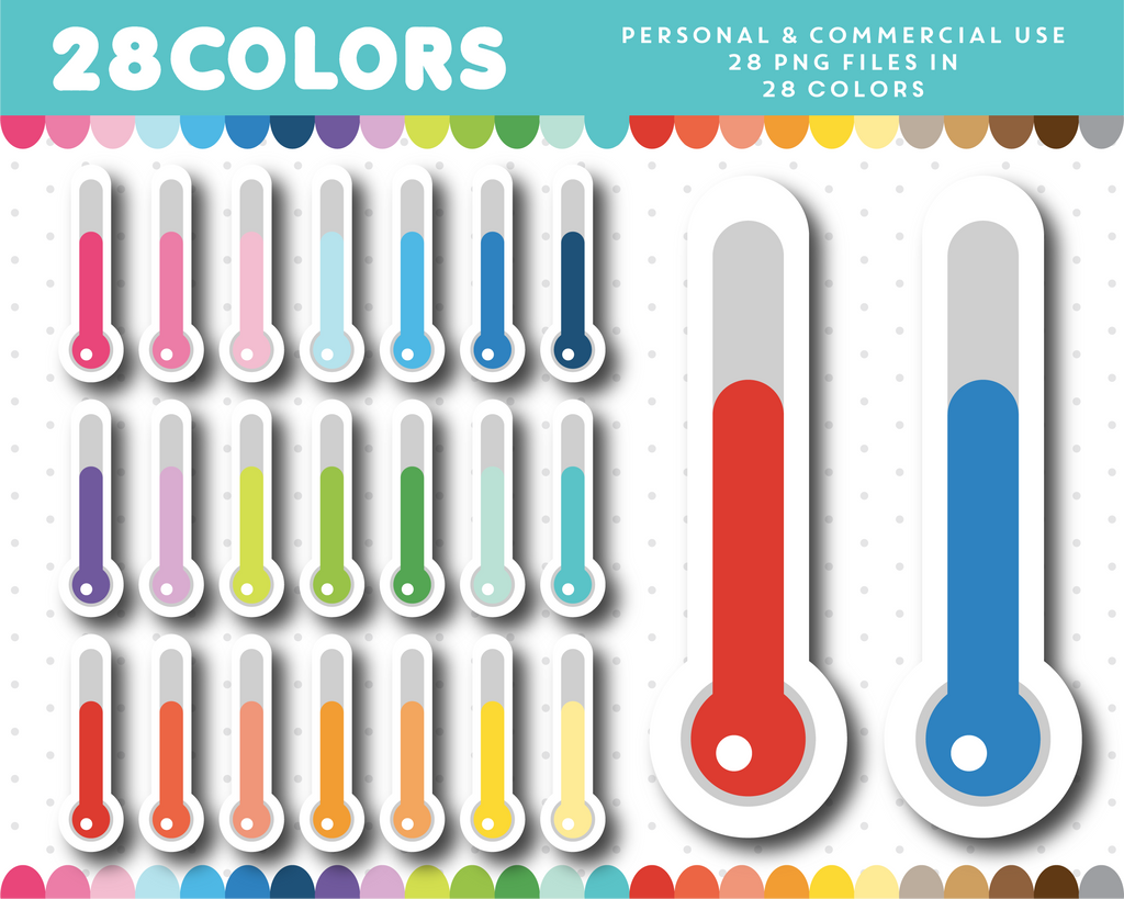Thermometer clipart in 28 colors, CL-1713
