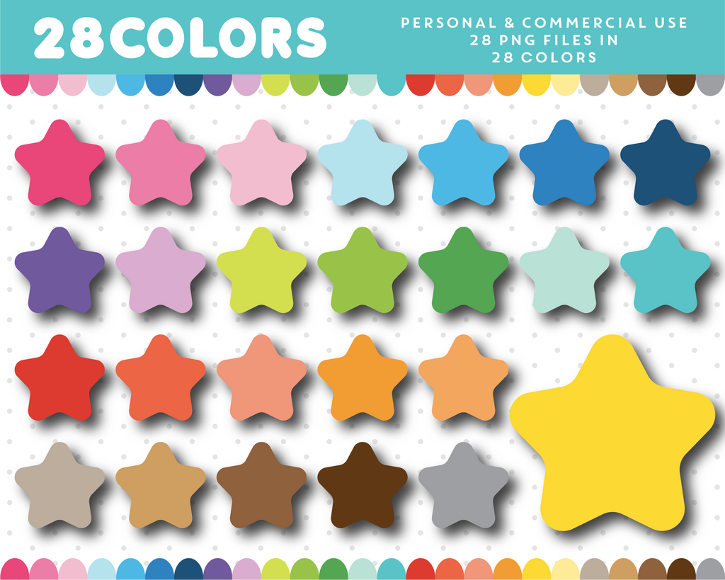 Baby star clipart in 28 colors, CL-1718