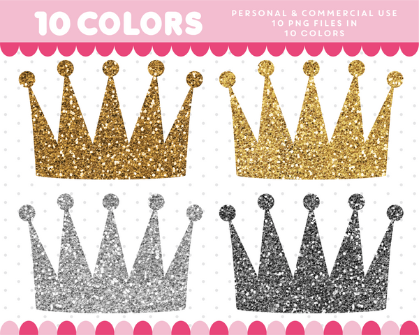 Crown clipart in gold and silver glitter, Glitter clipart, CL-1733