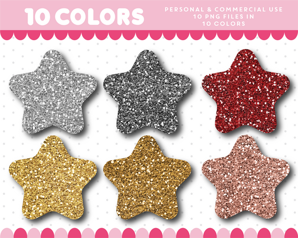 Baby star clipart in gold and silver glitter, Glitter clipart, CL-1734