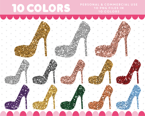 High heels clipart in gold and silver glitter, Glitter clipart, CL-1736
